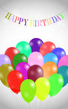 Birthday background. With garland and many colorful balloons Royalty Free Stock Photography