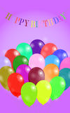 Birthday background. With garland and many colorful balloons Stock Images
