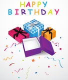 Birthday background with gift box and confetti. Illustration of Birthday background with gift box and confetti Royalty Free Stock Photography