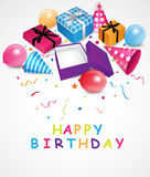 Birthday background with gift box and confetti. Illustration of Birthday background with gift box and confetti Stock Images