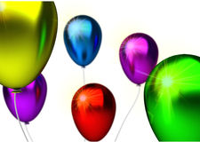 Birthday background with glossy color party ballons Stock Photography