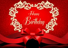 Birthday background with gold greeting card and red ribbon Stock Photos