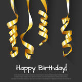 Birthday Background with Gold Streamers. Vector Royalty Free Stock Image