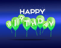 Birthday background with green balloons royalty free stock photos