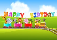 Birthday background with happy animals Stock Images
