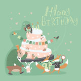 Birthday background with happy animals Royalty Free Stock Photo