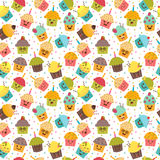 Birthday background. Kawaii cupcakes. Seamless pattern  Royalty Free Stock Photography