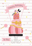 Birthday background with pink cake. Flowers and sparkles in vintage style Stock Photo