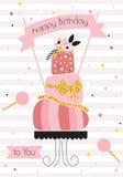 Birthday background with pink cake Stock Photo