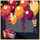 Birthday background with presents and balloons Royalty Free Stock Photos