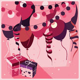 Birthday background with presents and balloons Stock Photography