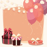 Birthday background with presents and balloons Stock Photo