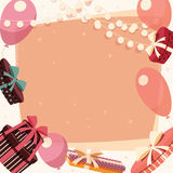 Birthday background with presents and balloons Stock Image
