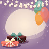 Birthday background with presents and balloons Royalty Free Stock Images