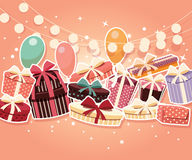 Birthday background with sticker presents and balloons Stock Photos