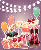 Birthday background with sticker presents and balloons Royalty Free Stock Image