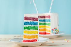 Birthday background - striped rainbow cake with white frosting Stock Images