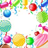 Birthday background with sweets. Vector illustration Royalty Free Stock Photos