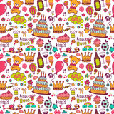 Birthday background with symbols of a holiday. Seamless Birthday background with cakes and other attributes of a holiday Royalty Free Stock Photo
