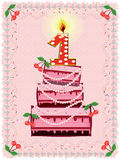 Birthday Background With Cake Royalty Free Stock Photo
