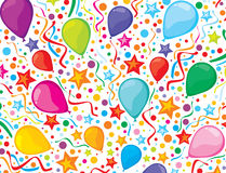 Birthday Background With Party Streamers And Confe Royalty Free Stock Photos