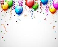 Birthday Balloon With Confetti Background Stock Photos