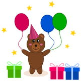 A birthday with balloon and gifts. Illustration Royalty Free Stock Image