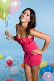 Birthday Balloon Girl. Beautiful birthday girl holding balloon royalty free stock photo