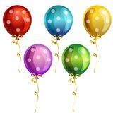 Birthday balloon icon set. With polkadot pattern Royalty Free Stock Photo