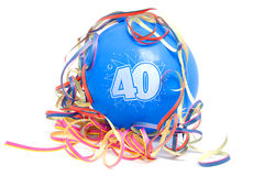 Birthday balloon with the number 40 Royalty Free Stock Photos