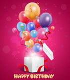 Birthday balloon out of the gift box Royalty Free Stock Photography