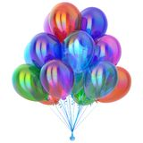 Birthday balloon party balloons bunch decoration colorful isolated. Birthday balloon party balloons bunch decoration colorful multicolored different. 3d vector illustration