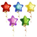 Birthday balloon star icon set. Collection Royalty Free Stock Photos