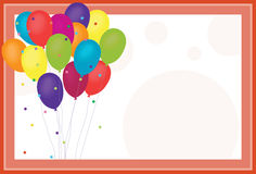 Birthday Balloons. On confetti and polka dot background Royalty Free Stock Images