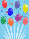 Birthday balloons. Greeting card with colored Birthday balloons and blue background Royalty Free Stock Image