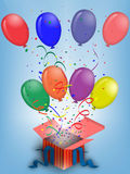 Birthday balloons. Greeting card with colored Birthday balloons and blue background Stock Image