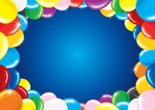Birthday Balloons. Festive horizontal background with colorful balloon frame for your birthday greeting text Royalty Free Stock Photos