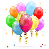 Birthday Balloons. 3D Transparent Birthday Balloons with Streamer,  on white, easy change color, vector Royalty Free Stock Photo