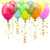 Birthday Balloons. Birthday Background with 3D Transparent Birthday Balloons and Streamer, easy change color, vector Royalty Free Stock Photography