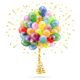 Birthday Balloons. 3D Transparent Birthday Balloons with Streamer and Confetti, isolated on white, easy change color, vector Royalty Free Stock Photography