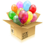Birthday Balloons. Open Cardboard Box with 3D Transparent Birthday Balloons with Streamer,  on white, easy change color, vector illustration Royalty Free Stock Photo