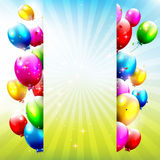 Birthday balloons. Birthday background with colorful balloons and place for text Royalty Free Stock Images