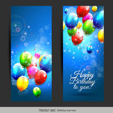 Birthday balloons banners Royalty Free Stock Photos