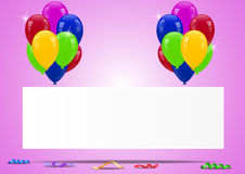 Birthday balloons with blank sign. Illustration of Birthday balloons with blank sign Stock Photo