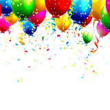 Birthday balloons. Colorful birthday balloons and confetti - vector background Stock Photo