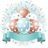 Blue Birthday balloons design Royalty Free Stock Photo