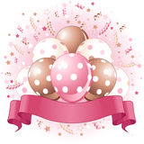 Pink Birthday balloons design Royalty Free Stock Image