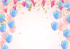 Birthday balloons and Confetti Vector Illustration of Balloons. Eps.10 Stock Photo