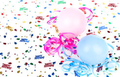 Birthday Balloons and Confetti Stock Photography