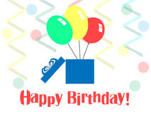 Birthday. The balloons of the gift boxes on the background of the serpentine royalty free illustration